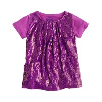 Girls' pleated sequin tee