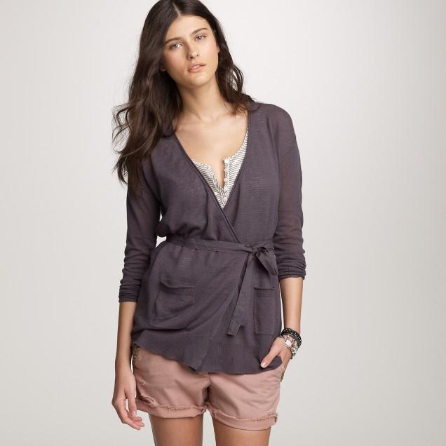 Linen-cotton wrap cardigan