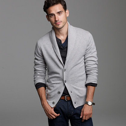 Lightweight cashmere shawl-collar cardigan