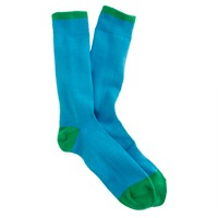 Two-color tipped cotton socks