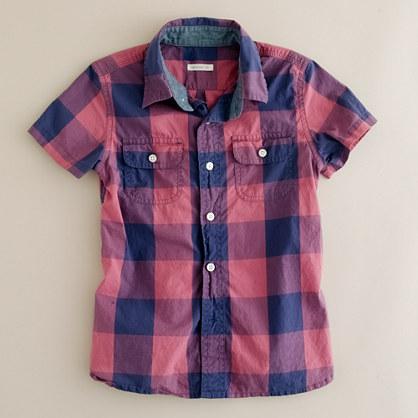 Boys' short-sleeve giant two-toned gingham shirt
