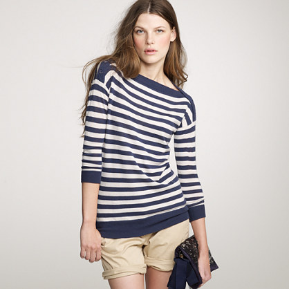 Featherweight cashmere stripe boatneck pullover