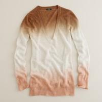 Linen dip-dye V-neck pullover