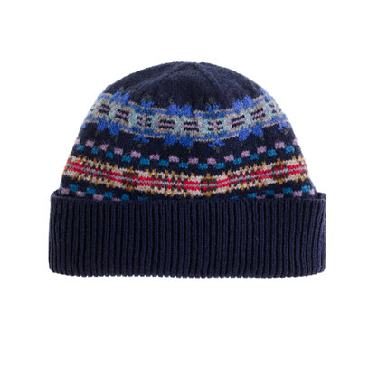 Lambswool Fair Isle stripe hat