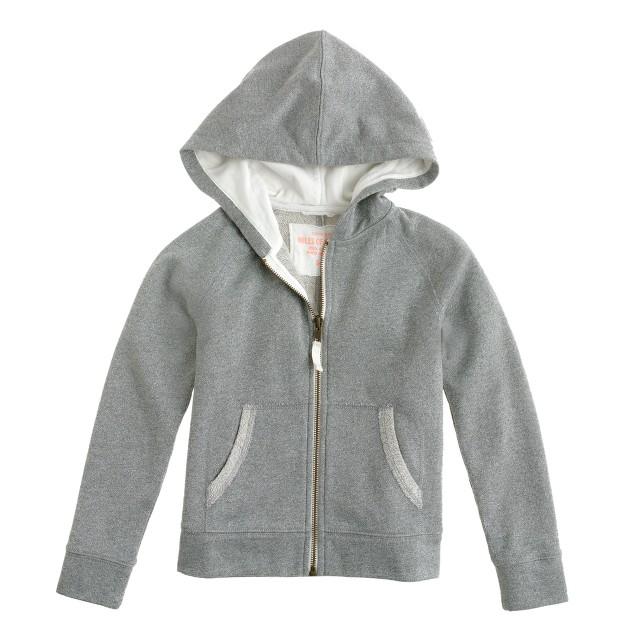 Girls' shimmer zip hoodie