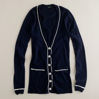 Piped-and-twisted pocket cardigan