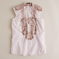 Flower mosaic embroidered tunic