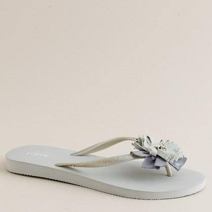 Vintage floral flip-flops