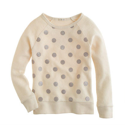Girls' glitter-dot sweatshirt