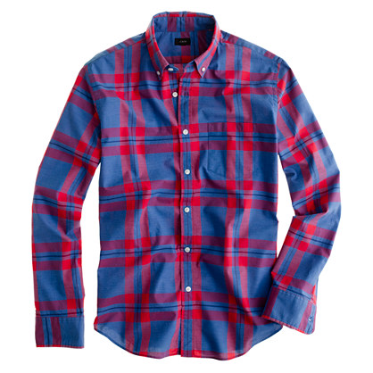 Slim Secret Wash shirt in pacific plaid