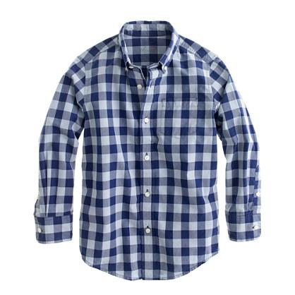 Boys' Secret Wash shirt in dark cove gingham