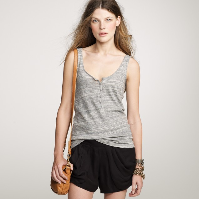 Space-dyed henley tank
