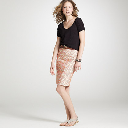 Embroidered ikat pencil skirt