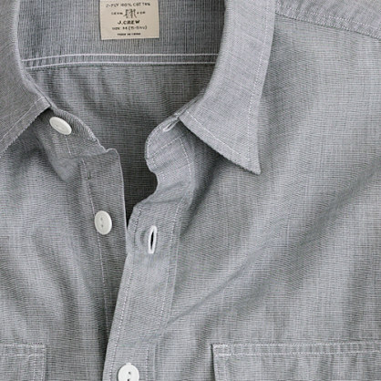 Slim end-on-end utility shirt with pockets
