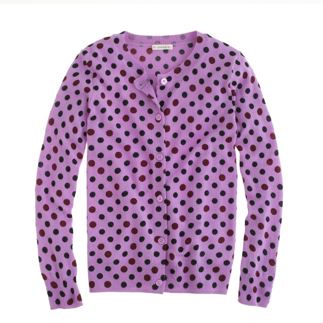 Girls' merino Caroline cardigan in double dots