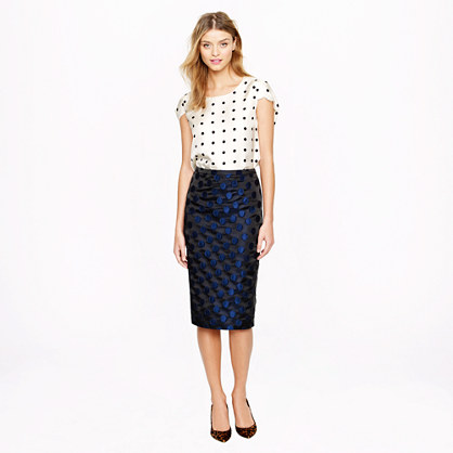 Petite No. 2 pencil skirt in dot brocade