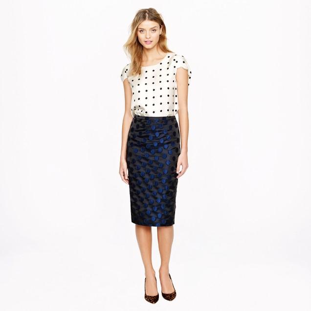 Petite No. 2 pencil skirt in dot brocade