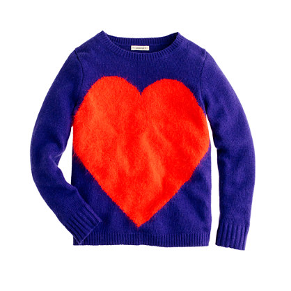 Girls' giant-heart sweater
