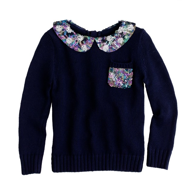 Girls' sequin collar popover