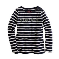 Girls' long-sleeve stripe jeweled snowflake tee
