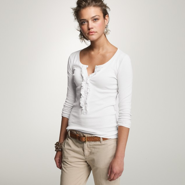 Perfect fit ruffle henley tee j crew for Women s cotton henley shirts