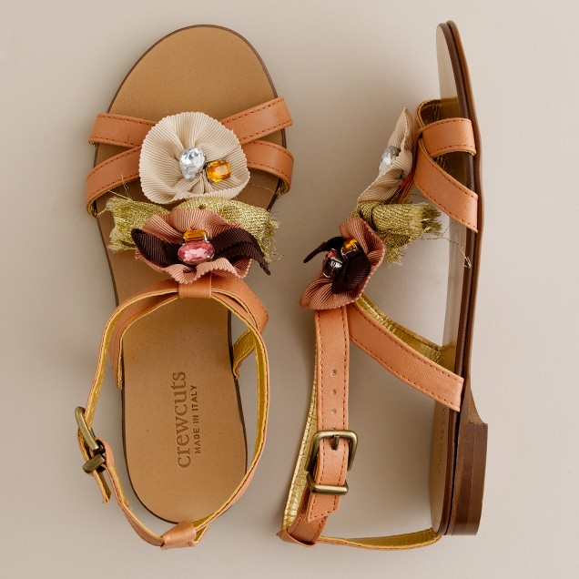 Girls' jeweled cluster sandals