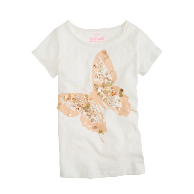 Girls' golden paillette butterfly tee