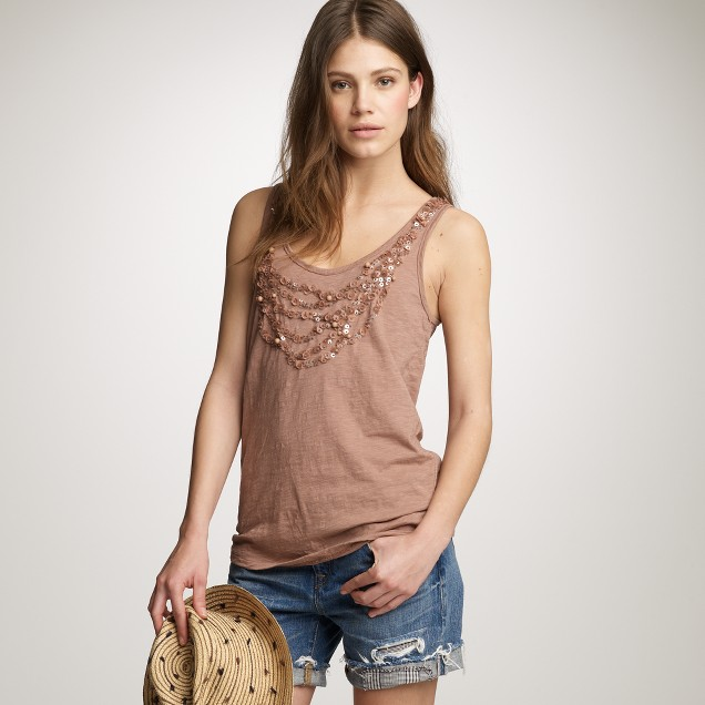 Sequin necklace tank