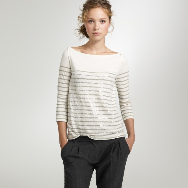 Stripe sequin boatneck tee