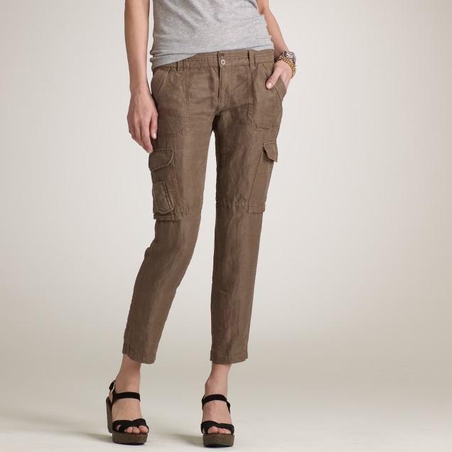 Linen-silk cargo pant