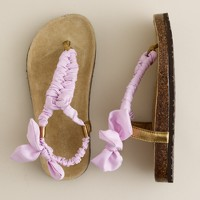 Girls' twisted silk sandals