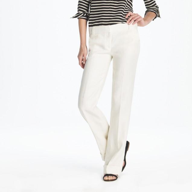 Petite lined café trouser in linen