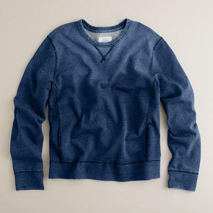 Indigo fleece crewneck sweatshirt : t-shirts & polos | J.Crew