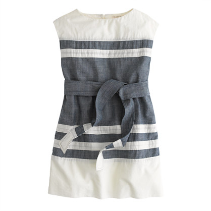 Girls' chambray-stripe dress