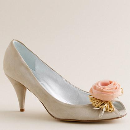 Raffia rose suede peep toes