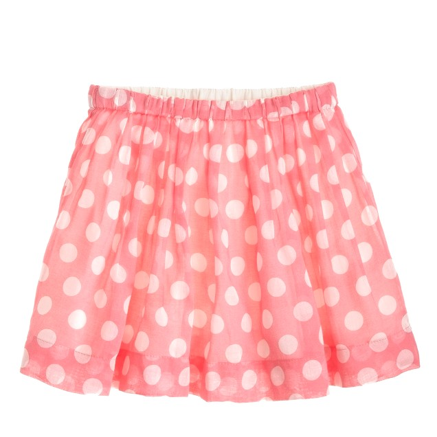 Girls' pull-on pleated skirt in dot