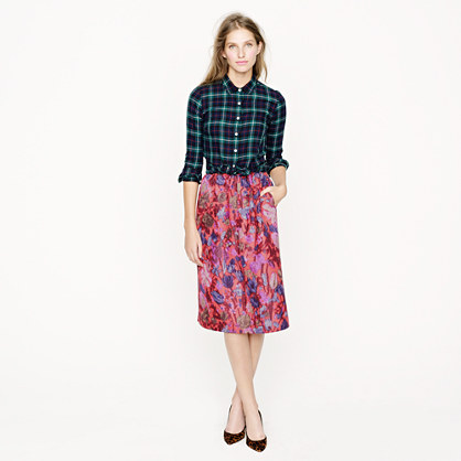 Collection skirt in flame floral jacquard