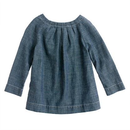 Girls' chambray bow tunic