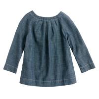 Girls' chambray bow tunic