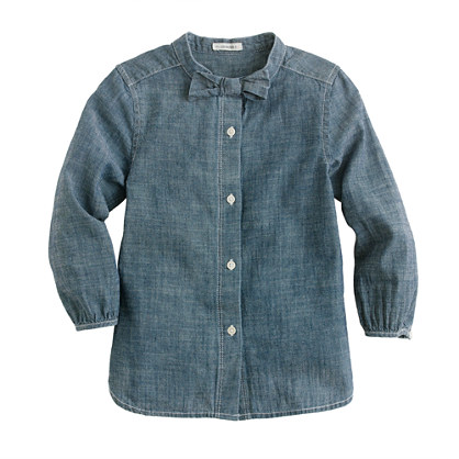 Girls' bow shirt in chambray
