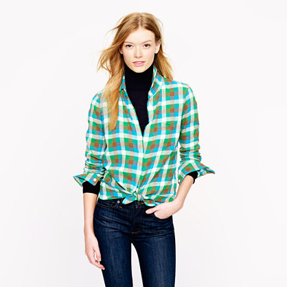 Boy shirt in kelly green plaid