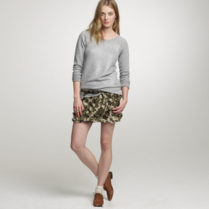 Camo crinkled chiffon skirt