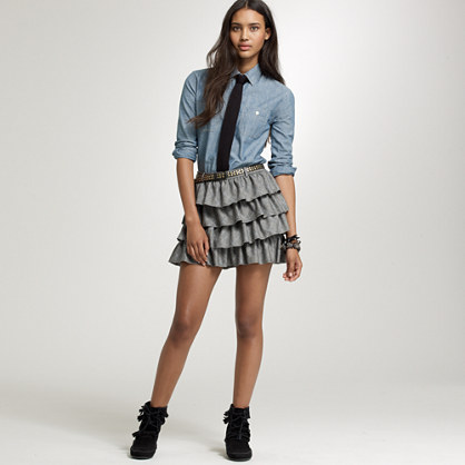 Glen plaid ruffle skirt
