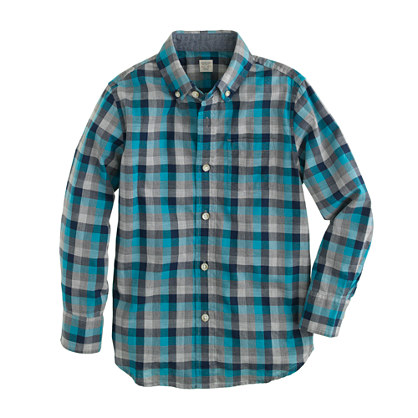 Boys' heather plaid shirt in elegant turquoise