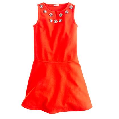 Girls' jeweled flare dress