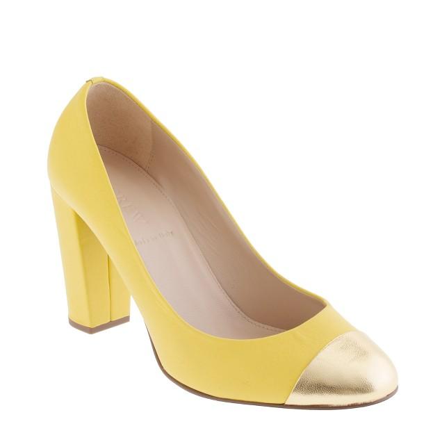 Etta gold cap toe pumps