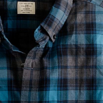 Heathered crescent plaid shirt