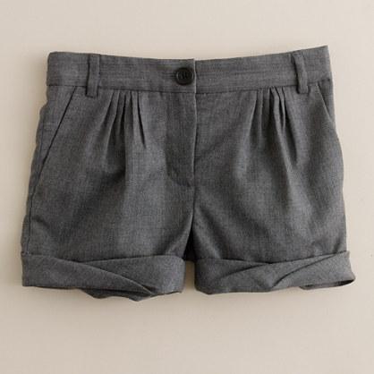 Girls' pleated cuff wool short