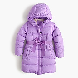Girls' long powder puffer coat
