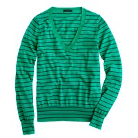 Cotton V-neck sweater in stripe